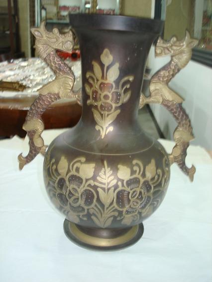 Florero En Bronce Antiguo Oriental Antiguedades El Rodeo