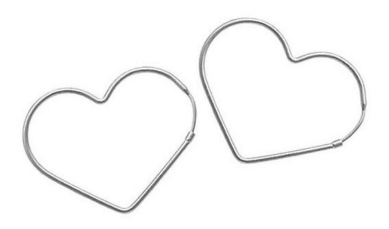 Brinco Pequeno Argola Coração Prata Pura 925 Nao É Banhado