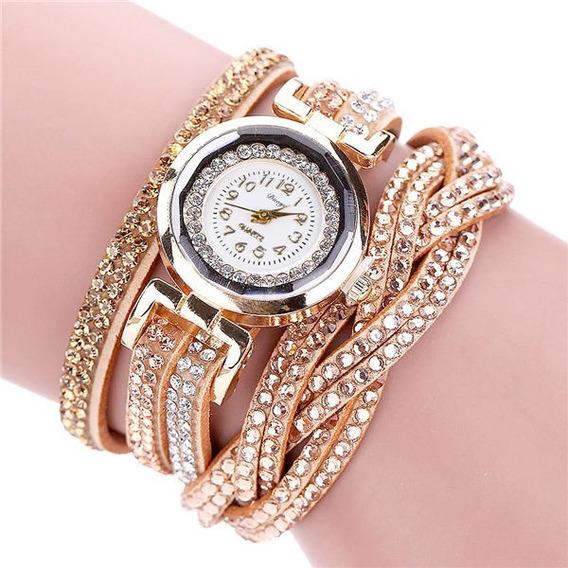 Relógio Moda Casual Quartz Pulseira De Couro Trançado Lindo