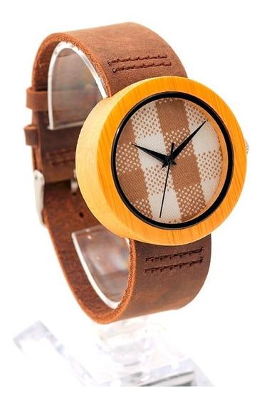 Relógio Feminino Bambu Analógico Ld18 Bobo Bird Xadrez