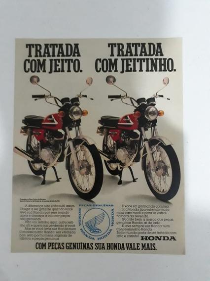 Propaganda Antiga Moto Honda Cg 125 Coleção Raro Anúncio!!!