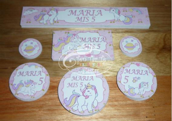 Sticker Etiquetas Candy Bar Golosinas Unicornio X4 Hojas