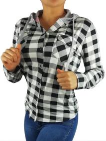 Blusa Con Gorro Cuadros Dama Casual Camisa Campesina Bcc