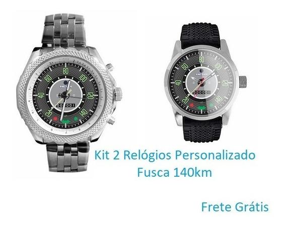 Kit 2 Relogios De Pulso Personalizado Fusca 140km