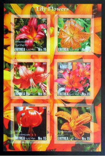 Eritrea Flores, Bloque 6 Sellos S Dentar Lirios Mint L10031