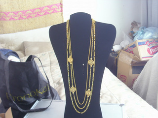 Antiguo Collar Cadena Dorado Multiple C/medallon Retro Cºkj5