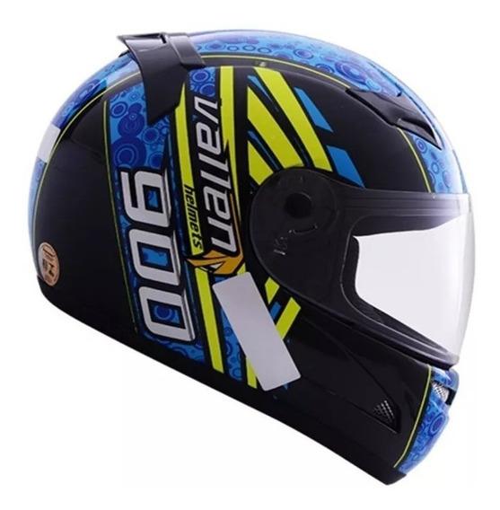 Capacete Moto Vallen 900 Preto/azul 60 Promoção!!!