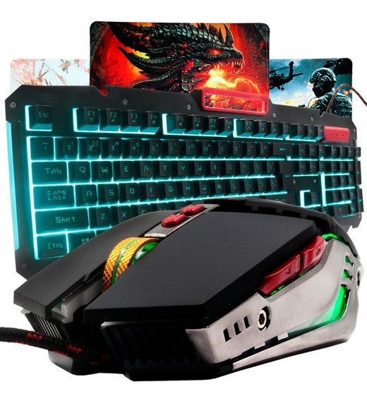 Kit Teclado Gamer Led + Mouse Usb 3000 Dpi Mousepad Pad K92
