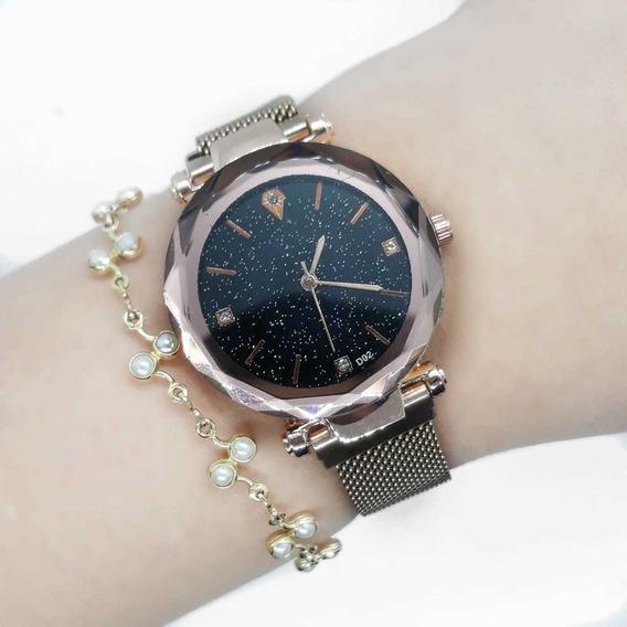 Relógio Céu Estrelado Pulseira Magnética