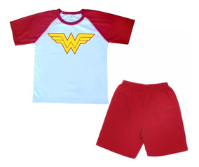 Conjunto De Pijama Infantil Curto Logo Mulher Maravilha
