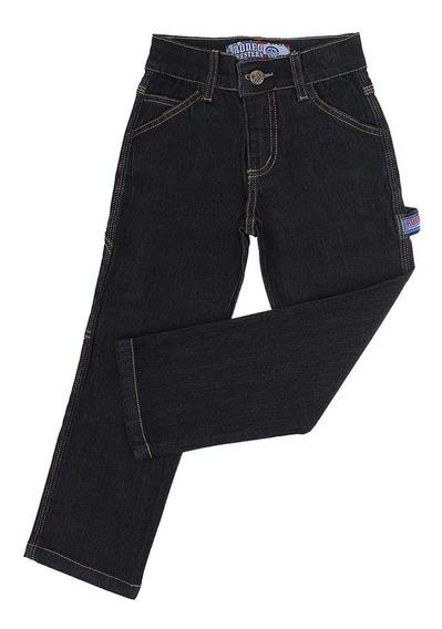 Calça Jeans Carpinteira Infantil Masculina Preta Rodeo Weste