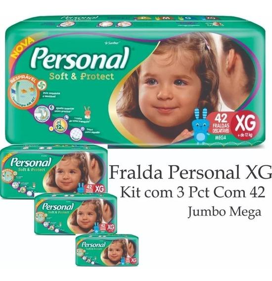 Fralda Personal Mega Xg 3 Pacotes De 42 Fraldas Cada Total 126un