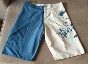 Bermuda Masculina Bege E Azul Poliéster Tam 46 Roupa Barata