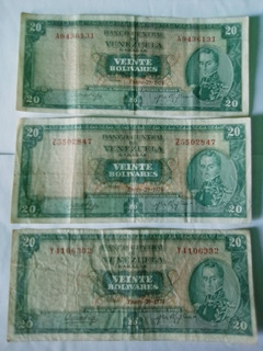 Billetes De 20 Bs De 1974, Series A7, Y7,z7