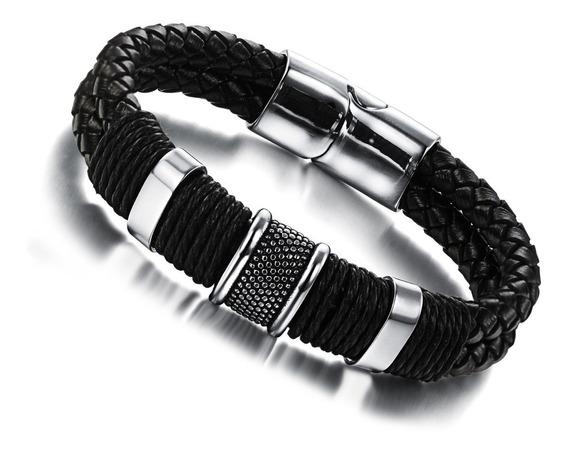 Pulseira Masculina Bracelete Couro Legítimo Aço Inox
