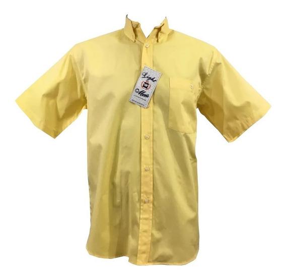 Camisa Amarilla Casual Manga Corta Hombre Oferta