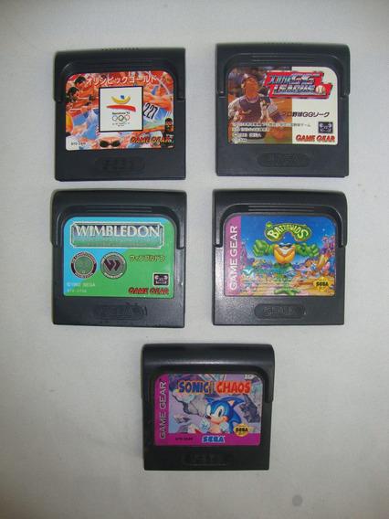 Lote Com 5 Cartuchos Game Gear Sonic Battledoads Olimpiadas