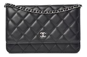 Bolsa Chanel Woc Preta Metais Prata Couro Lambskin Com Caixa