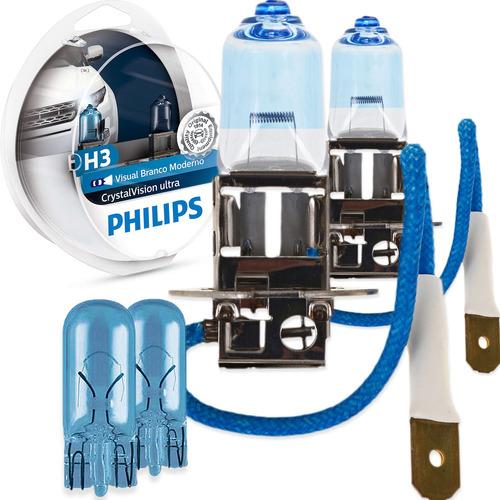 Imagem 1 de 6 de Par Kit Lâmpadas Philips Crystal Vision Ultra H3 55w 12v