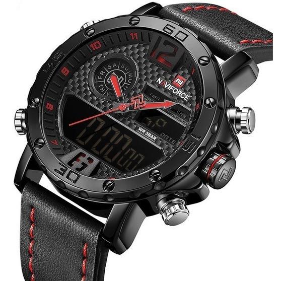 Relógio Naviforce Masculino Esportivo Militar Pulseira Couro