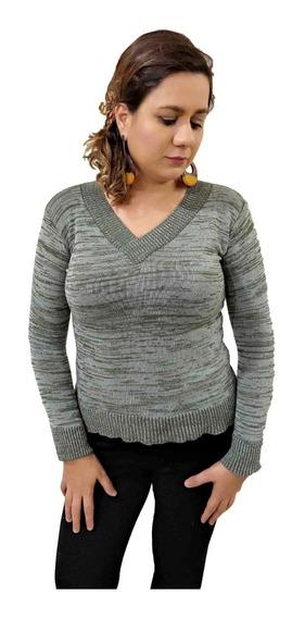 Blusa Tricot Básica De Elastano Gola V Sueter Feminino Liso