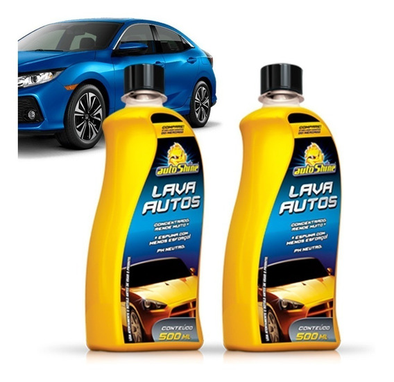 Kit 2 Shampoo Automotivo Lava Autos Alto Brilho Limpeza Auto