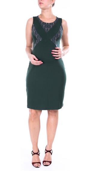 Vestido Gestante Recorte Devore Verde