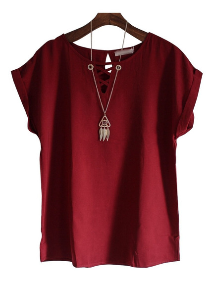 Camisa Feminina Blusa Plus Size Com Colar Brinde 2503