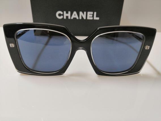 Óculos De Sol Chanel Original Ch 4272 Acetato Preto Total