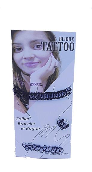 Colar Coleira Tattoo Com Anel E Pulseira Kit Com 6 Cartelas