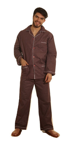 Pijama Hombre Franela Frizado Abotonado Algodon Abrigado