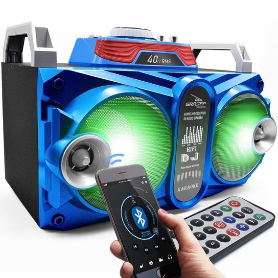 Caixa Som Amplificada Bluetooth 40w Led Dj Fm Usb Mp3 Azul