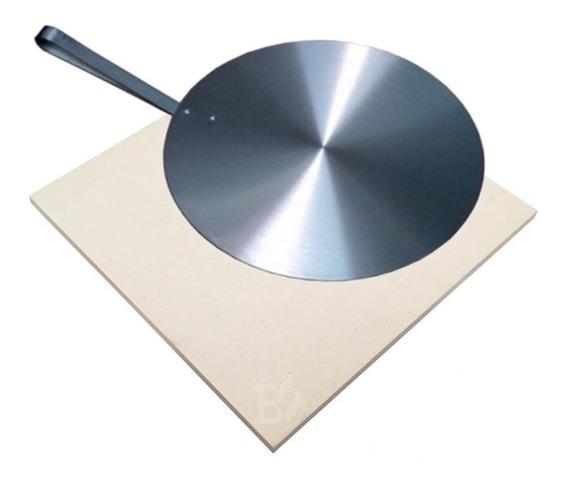 Pedra Pizza 40 X 40 Para Forno E Churrasqueira + Pá Alumínio