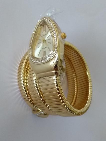 Relógio Dourado Pulso Feminino Serpente Cobra Cussi Barato