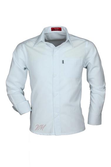 Camisa Infantil Alfa Tecido Misto Não Amassa - Branca - 76