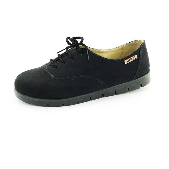 Tênis Tratorado Quality Shoes Feminino 005 Camurça Preta Sol