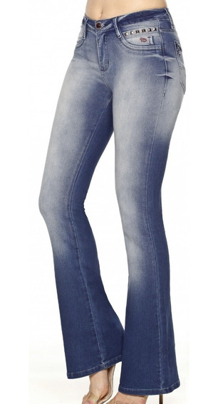 Calça Feminina Flare Blue Denim Cos Medio Bd2251