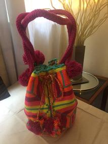 Bolsa Wayuu Pompom Alças Curtas Original Colombia