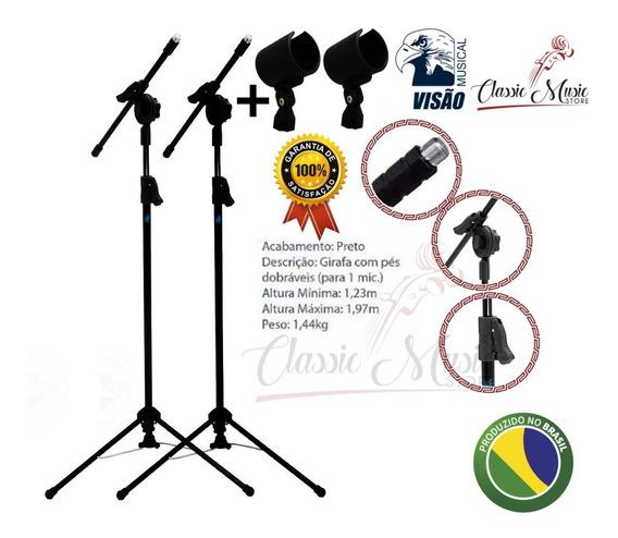 2 Pedestal Suporte Girafa Para Microfone Visão Com Cachimbo