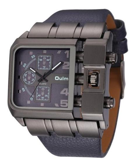 Relógio De Pulso Masculino Aço Inoxidável Couro Rustico Oulm
