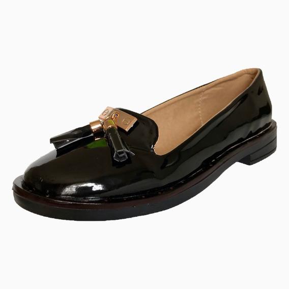 Zapato Mocasín Choclo Casual Mujer Mu 1205 Negro Brillante