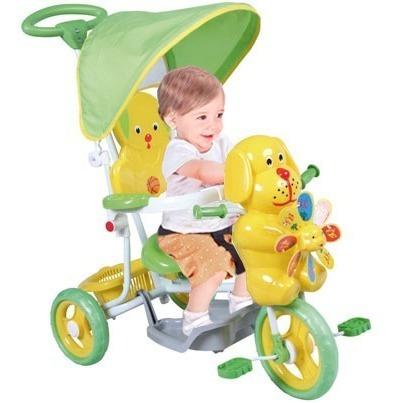 Triciclo Infantil Reforzado Con Capota Y Barral - Osito