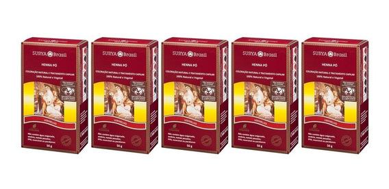 Kit 5x50g Henna Pó Vermelho Surya Brasil 50g 12.5.p