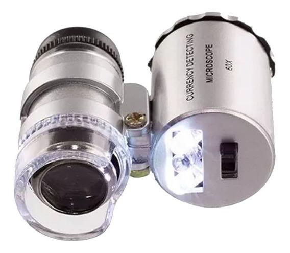 Lupa Mini Microscópio Bolso Com Led E Ultravioleta 60x