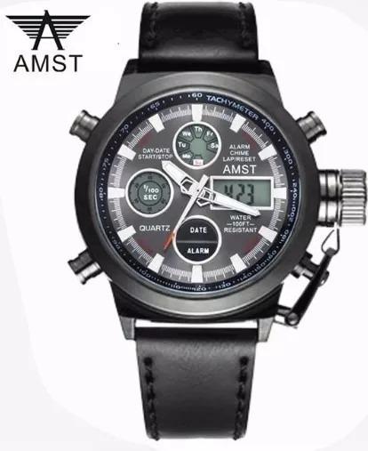 Relógio Amst Luxo Militar Esporte Digital Analógico Analogic