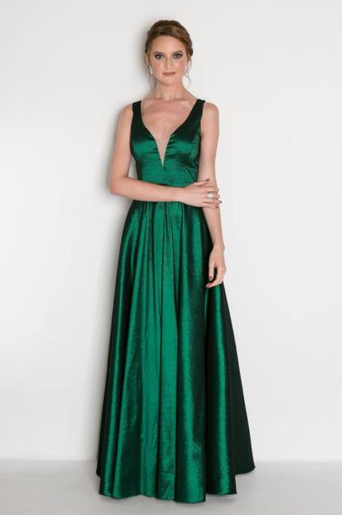 Vestido Festa Formatura Tafetá Longo Rodado Marsala Verde
