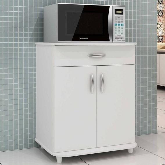 Balcão P/ Cozinha Microondas Dallas Notável Móveis Branco