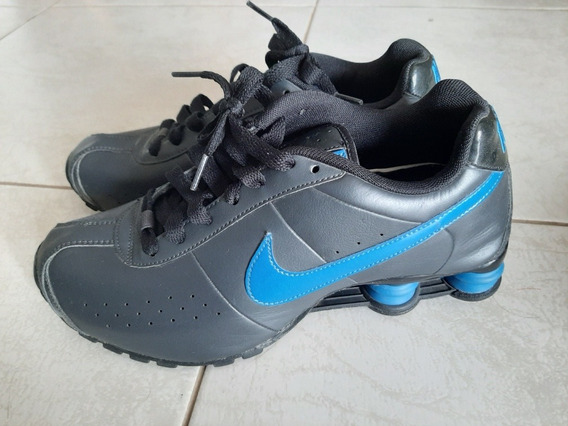 Tenis Nike Shox De Couro Preto E Azul 39