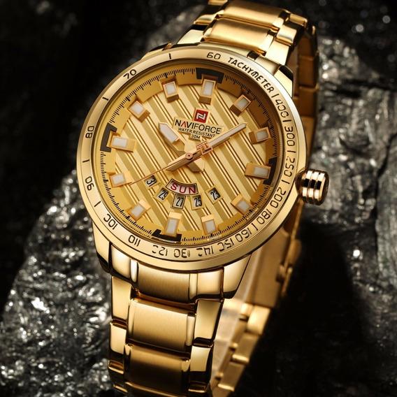 Relógio Masculino Naviforce - Dourado De Luxo, Importado