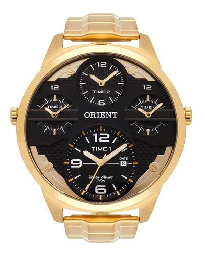 Relogio Orient Masculino Mgsst002 P2kx Preto Dourado